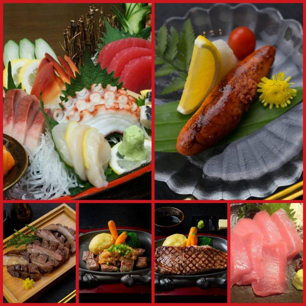 เมนูรวม มื้อดึกในร้าน Cruise Restaurant ซอยธนิยะ สเต็กแฮมเบอร์เกอร์ ลิ้นวัวย่างสไตล์ญี่ปุ่น สเต็กเนื้อสันนอก ไข่ปลาเมนไตโกะย่าง ปลามากุโร่หมักไข่แดง เซ็ตรวมซาชิมิ